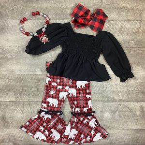 Girls boutique bear snowflake top and pants set